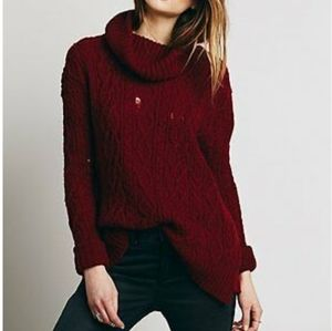 Free People Love Worn Distressed Cable Sweater